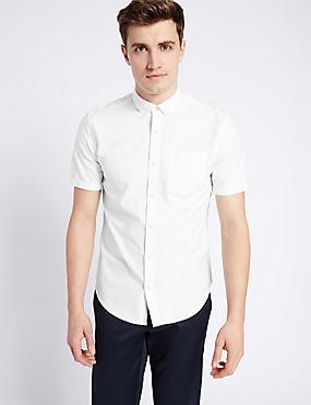 Pure Cotton Slim Fit Oxford Shirt, WHITE, catlanding