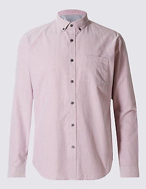 Pure Cotton Slim Fit Oxford Shirt, CRIMSON, catlanding