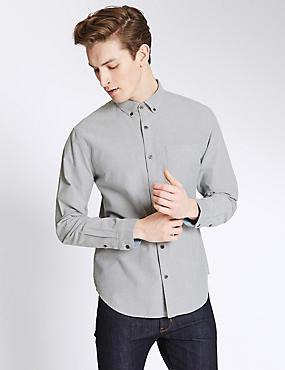 Pure Cotton Slim Fit Oxford Shirt, GREY, catlanding