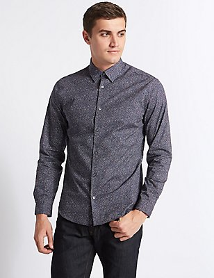 Pure Cotton Slim Fit Printed Shirt, MULTI, catlanding