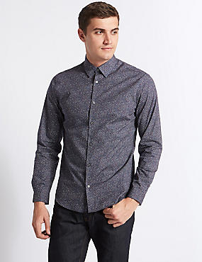 Pure Cotton Slim Fit Printed Shirt, MULTI, catlanding