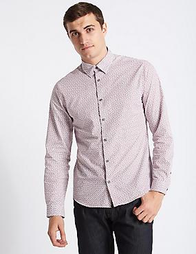 Pure Cotton Slim Fit Paisley Print  Shirt, IVORY MIX, catlanding