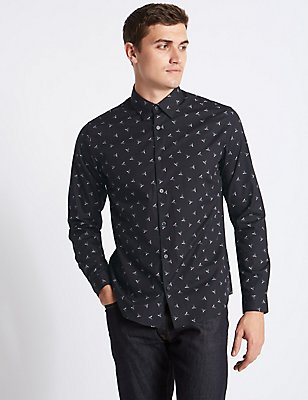Pure Cotton Slim Fit Printed Shirt, BLACK MIX, catlanding
