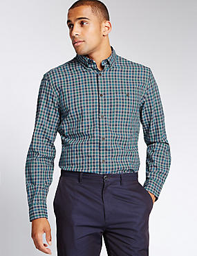 Pure Cotton Tailored Fit Gingham Shirt, BRIGHT TURQUOISE, catlanding
