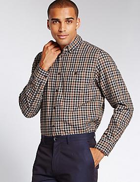 Pure Cotton Tailored Fit Gingham Shirt, PRALINE, catlanding