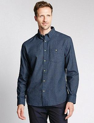 Pure Cotton Tailored Fit Textured Shirt, INDIGO, catlanding