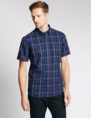 Pure Cotton Tailored Fit Checked Shirt, INDIGO, catlanding