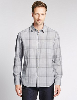 Pure Cotton Linear Checked Shirt, WHITE MIX, catlanding