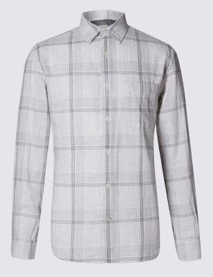 Рубашка из чистого хлопка в линейную клетку