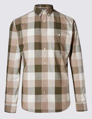 Рубашка из чистого хлопка в блочную клетку