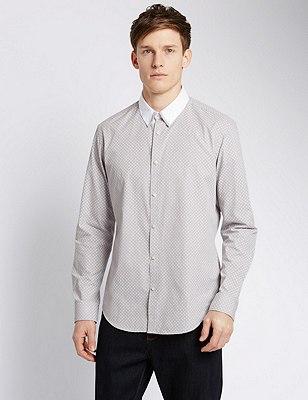 Tile Print Tailored Fit Shirt, GREY, catlanding