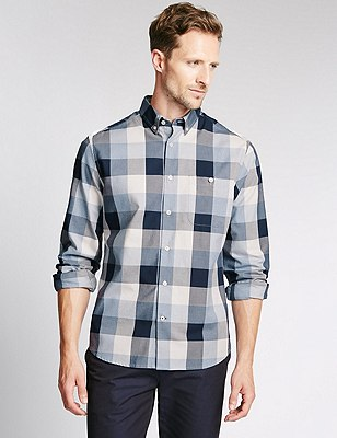 Big and Tall Pure Cotton Checked Shirt, BLUE MIX, catlanding