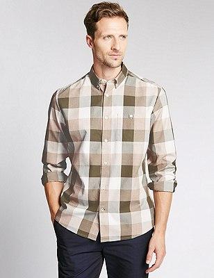 Big and Tall Pure Cotton Checked Shirt, KHAKI MIX, catlanding