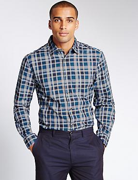 Big & Tall Pure Cotton Checked Shirt, MARINE, catlanding