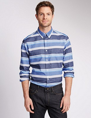 Pure Cotton Tailored Fit Striped Oxford Shirt, BLUE MIX, catlanding