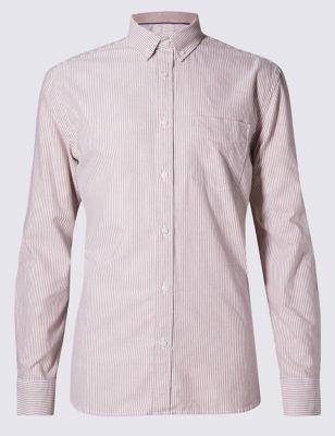 Слегка приталенная рубашка модели Оксфорд из чистого хлопка в тонкую полоску