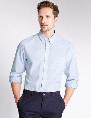 Pure Cotton Tailored Fit Striped Oxford Shirt, , catlanding