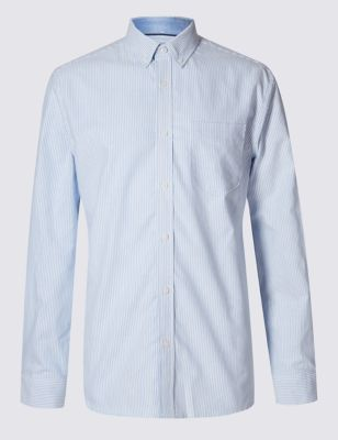 Слегка приталенная рубашка модели Оксфорд из чистого хлопка в тонкую полоску M&S Collection T253056M