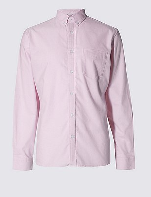 Pure Cotton Tailored Fit Oxford Shirt, PINK, catlanding