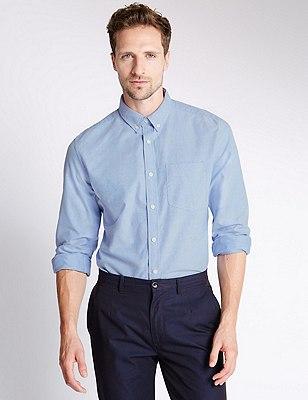 Pure Cotton Tailored Fit Oxford Shirt, BLUE, catlanding