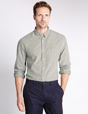 Pure Cotton Tailored Fit Oxford Shirt, , catlanding