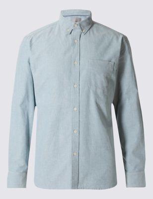 Слегка приталенная оксфордская рубашка из чистого хлопка актуального цвета