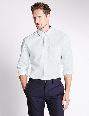 Pure Cotton Tailored Fit Oxford Shirt, WHITE MIX, catlanding