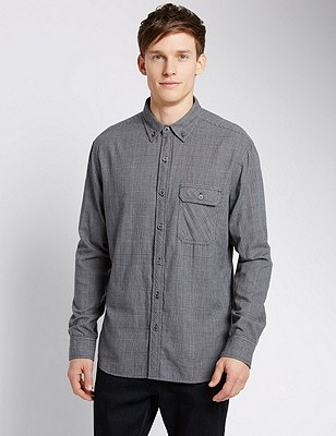 Pure Cotton Prince of Wales Checked Shirt, GREY MIX, catlanding