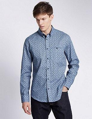 Pure Cotton Floral Gingham Shirt, NAVY, catlanding