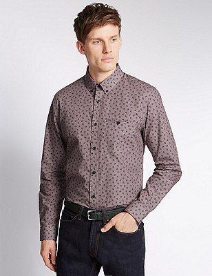 Pure Cotton Floral Gingham Shirt, OXBLOOD, catlanding