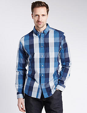 Pure Cotton Block Checked Shirt
