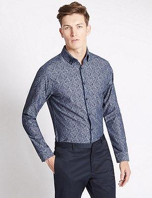 Pure Cotton Chambray Print Shirt, CHAMBRAY, catlanding