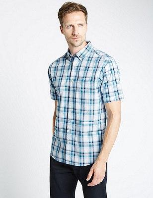 Pure Cotton Tailored Fit Overchecked Slub Shirt, BLUE MIX, catlanding