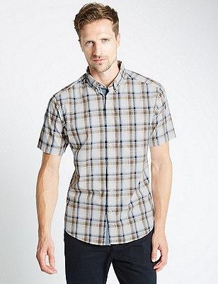 Pure Cotton Tailored Fit Overchecked Slub Shirt, LIGHT BROWN, catlanding