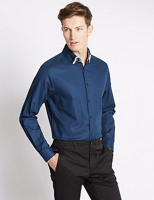Tailored Fit Pure Cotton Long Sleeve Shirt, NAVY, catlanding