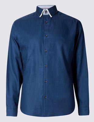 Слегка приталенная рубашка из чистого хлопка с контрастными деталями