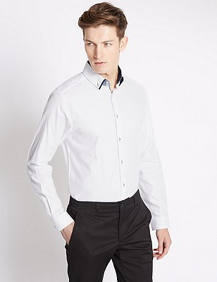 Tailored Fit Pure Cotton Long Sleeve Shirt, WHITE MIX, catlanding