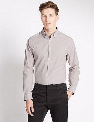 Pure Cotton Tailored Fit Micro Print Shirt, CRIMSON, catlanding