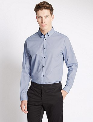 Pure Cotton Tailored Fit Micro Print Shirt, STEEL, catlanding