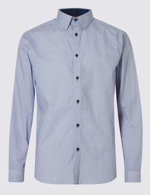 Слегка приталенная рубашка из чистого хлопка с микропринтом