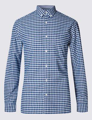 Приталенная оксфордская рубашка из чистого хлопка в яркую клетку M&S Collection T253093M