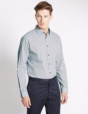 Slim Fit Pure Cotton Long Sleeve Shirt, BLUE, catlanding