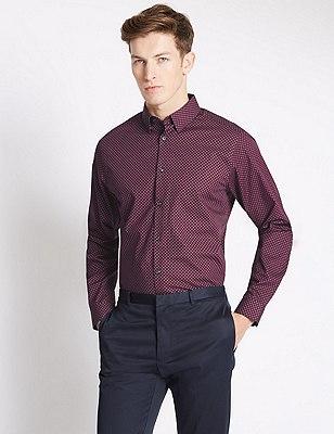 Slim Fit Pure Cotton Long Sleeve Shirt, DARK RASPBERRY, catlanding