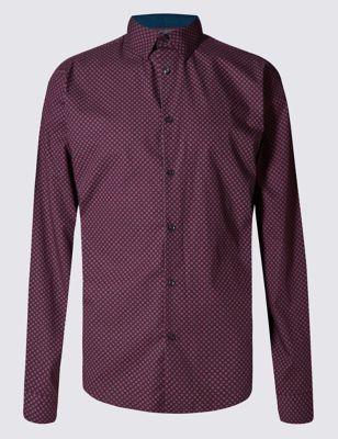 Приталенная рубашка из чистого хлопка с мозаичным принтом