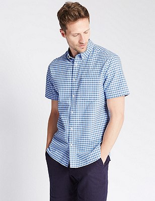 Pure Cotton Oxford Checked Shirt , BLUE, catlanding