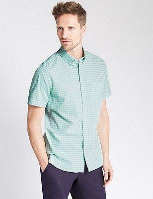 Pure Cotton Oxford Checked Shirt , AQUA, catlanding