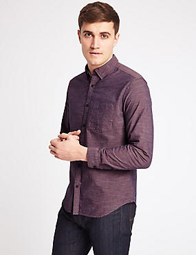 Pure Cotton Slim Fit Shirt with Pocket, OXBLOOD, catlanding