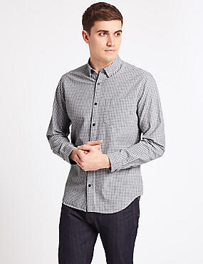 Pure Cotton Slim Fit Shirt with Pocket, GREY MIX, catlanding