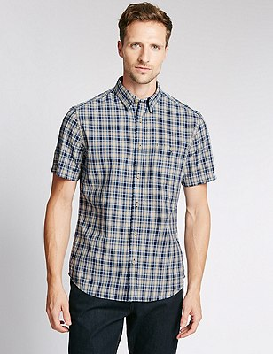 Pure Cotton Tailored Fit Checked Shirt, BLUE, catlanding
