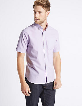 Pure Cotton Oxford Shirt with Pocket, LILAC, catlanding